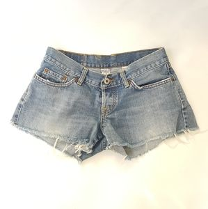 Lucky brand jean shorts with patch, size 4/27.